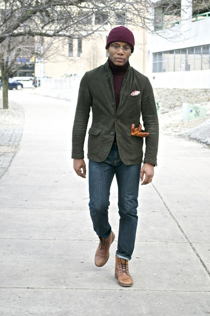 Shop this look on Lookastic:  https://lookastic.com/men/looks/blazer-turtleneck-skinny-jeans/14300  — Burgundy Beanie  — Burgundy Turtleneck  — Olive Cotton Blazer  — Tobacco Leather Gloves  — Navy Skinny Jeans  — Tan Leather Casual Boots