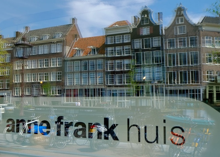 Anne Frank Museum entrance with reflections from across the street - Amsterdam, Holland