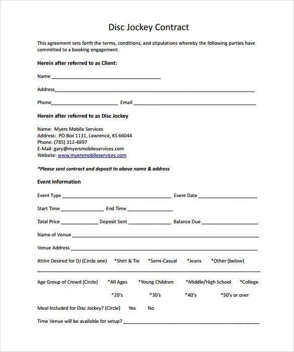 Wedding Dj App Contract Template Word Template Templates