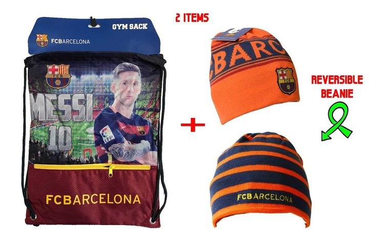 Messi Cinch + Beanie Sack Fc Barcelona Soccer Book Backpack Authentic Official #Icon #FCBarcelona