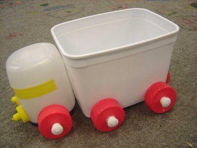 Podemos criar muitos brinquedos usando embalagens plásticas, tampinhas de garrafas, rolos de papel higiênico e papel toalha, caixas de le...