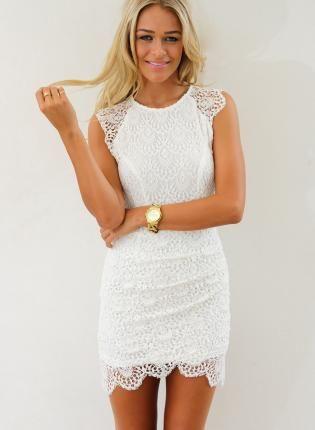Cap Sleeve White Dresses