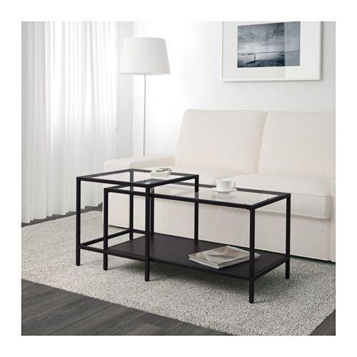 VITTSJÖ ネストテーブル2点セット, ブラックブラウン, ガラス 90x50 cm ブラックブラウン/ガラス