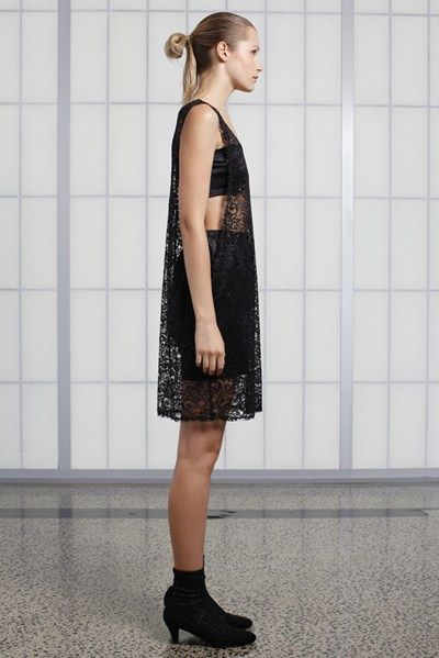 s/s 13/14 womens key looks - W24. tunic in lace, breastplate in polish, bloomer in polish.
