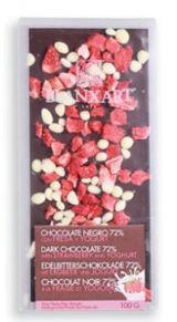 Blanxart 100g. Ciocolata neagra 72% cu capsuni si iaurt