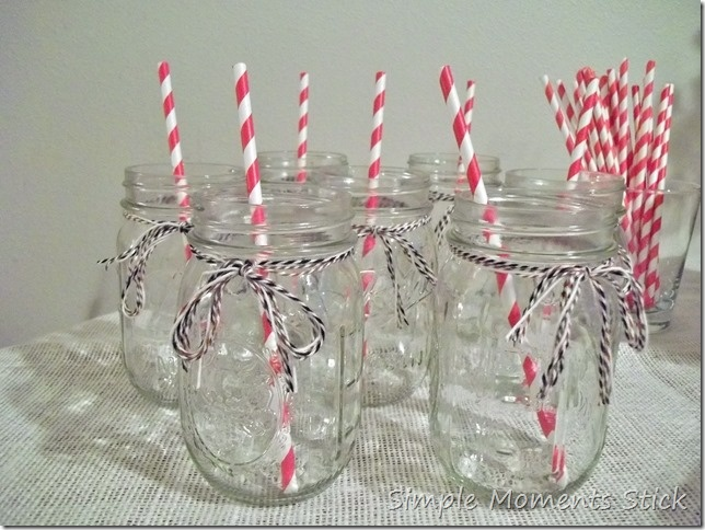 Cute mason jar glasses for a party!!