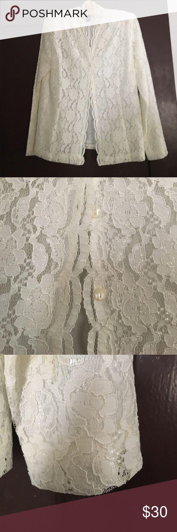 🚨Vintage Karen Scott Lace Blouse🚨 🚨Final Reduction🚨 Vintage retro Karen Scott Lace Blouse in mint condition! Karen Scott Tops Blouses