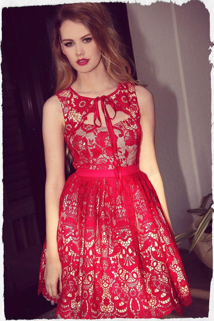 Scarlet Lace Peekaboo Dress