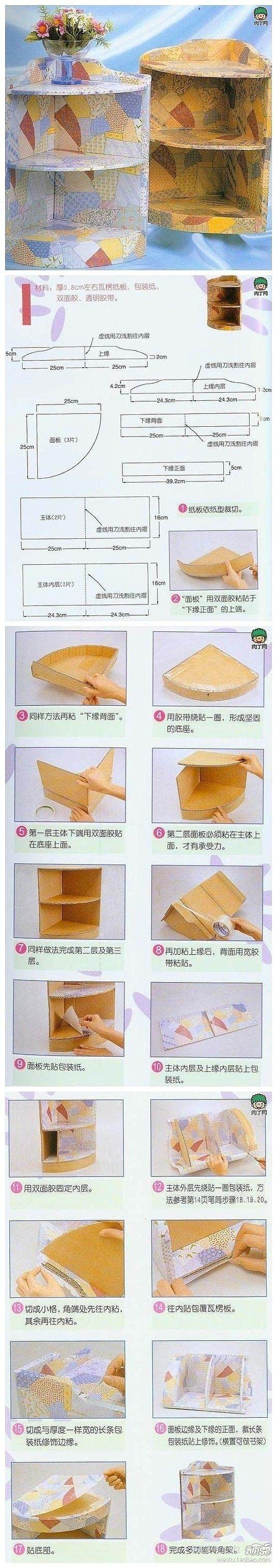 Una repisa con cartón y papel decorativo