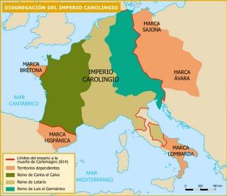 Tratado de Verdún: Disolución del imperio Carolingio.