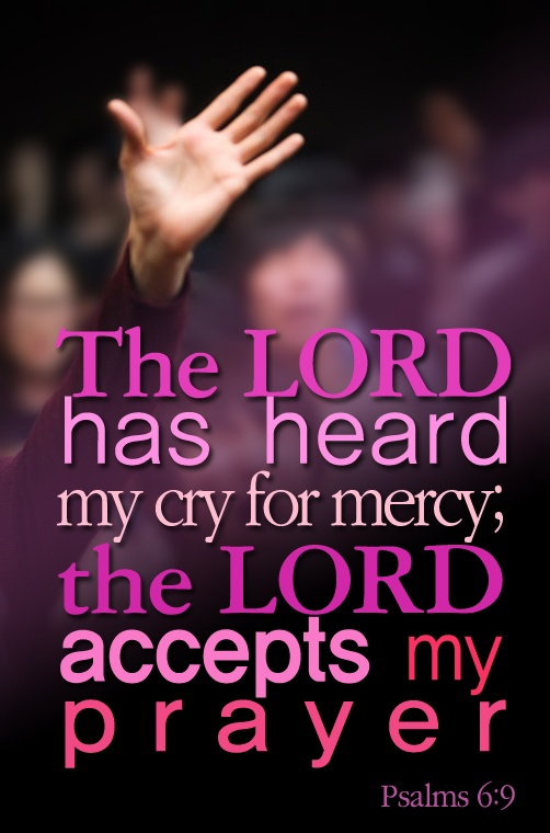 Psalm 6:9 ~ The Lord has heard my cry for mercy; the Lord accepts my prayer...