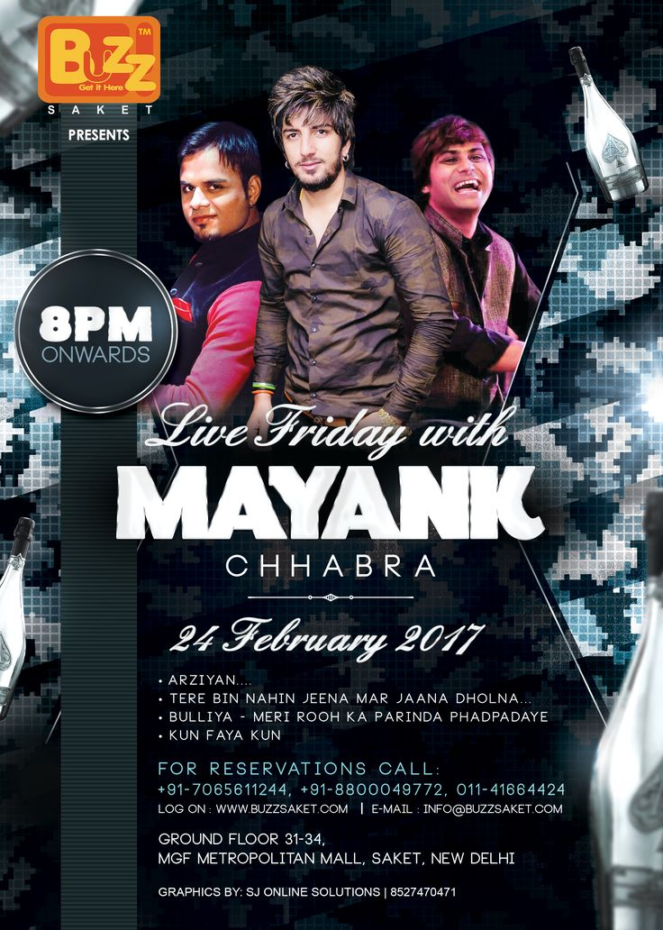 Make your Friday superb with Mayank Chhabra -The Band.So you know where to spend your Friday Night!!!Witness a dynamic fusion of the most soulful music tracks that will make you groove all night long.You can enjoy Dance, Drinks and Food etc.So put on ur party gears and rush to the Most Elite Nightclub of Town #Friday #Nigfhtlife #Delhi #Music #Party #Food #Club #Bar #Beer #Drink #Booze #Buzzsaket
