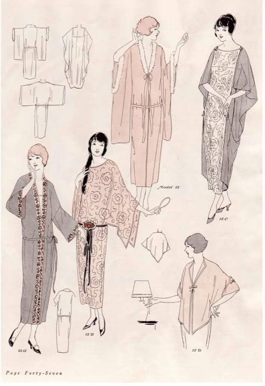 1920s Style Kimono Robes Pattern Ebook illustration vintage fashion style boho ethnic Asian dress jacket
