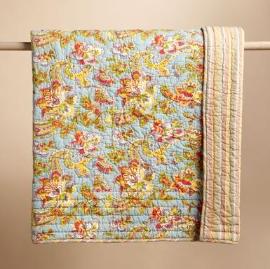 """A scrolling floral print on a background of clear, calm blue. On the back a variegated stripe, echoing the print's colors and tones with sprightly splendor. Cotton. Imported. Machine wash. Queen, 96""""L x 92""""W"""