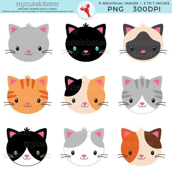 Cat Faces Clipart Set Of Cute Cats Grey Cat Siamese Cat Etsy In 2021 Cat Face Cute Cats Calico Cat