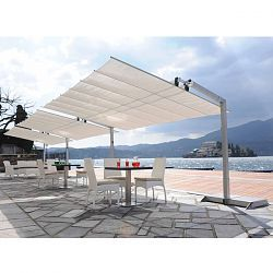 Italian Garden Awning. This beautifully designed Italian awning or canopy can be tilted up or down to block the sun at almost any angle. The canopy slides horizontally to the side to open or close. It can also be easily removed for winter storage. The canopy fabric is made with a Sunbrella® outdoor acrylic fabric which is extremely resistant to moisture and colorfast against sunlight.