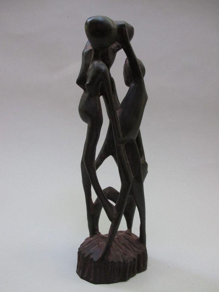 Vintage Hand Carved Black Ebony Wood Statue Tanzanian