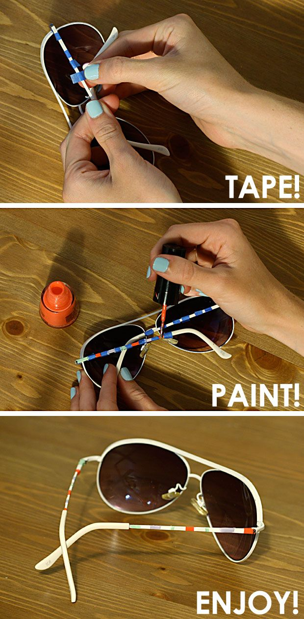 DIY Painted Sunglasses Makeover  Idea anti-crisis: Rediseña tus gafas de solTween Crafts, Painting Arm, Nail Polish, Diy Painting, Sunglasses Makeovers, Gem Crafts, Nails Polish, Arm Sunglasses, Painting Sunglasses