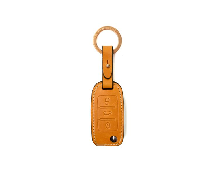 volks wagen 6 generation_3button folding Handmade Buttero Leather Smart Key Cover/Case   -Handmade by: Custom Republic  -Leather: Vegetable leather from Conceria Walpier & Vera Pelle -Attachment pieces: 18K gold satin coating - Colors: natural, yellow, orange, brown, navy, and camouflage -Thread & Stitching: Serafil (from Germany)  -Measurement: 3.9 cm x 15cm