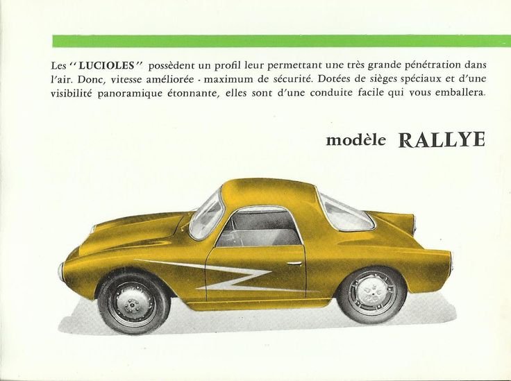 1958 Marsonetto Luciole a small fibreglass bodied sports coupe in either FWD configuration using the Panhard Dyna Z mechanicals, or Rear-Engine RW Drive using the Renault 4CV. These cars were first presented at the 1958 Paris Salon.