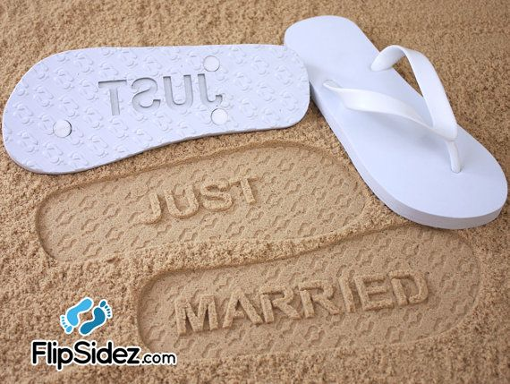 Just Married Flip Flops Check size chart by FlipSideFlipFlops, $18.95