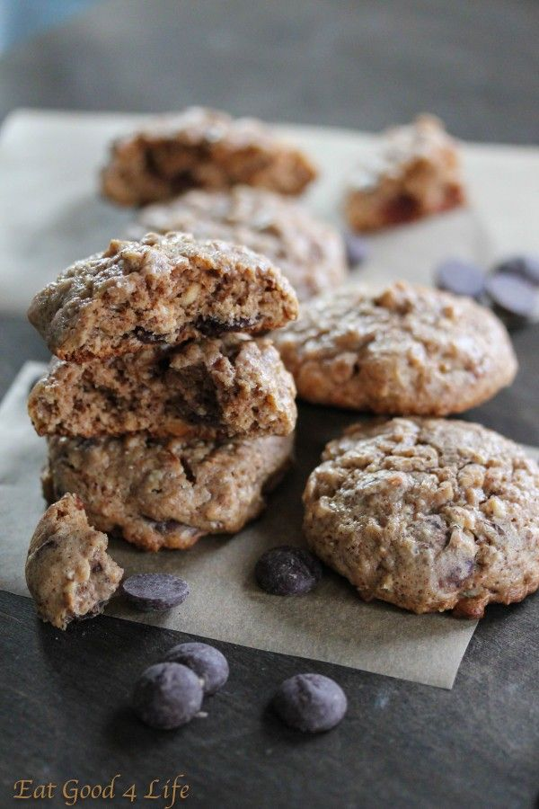 Gluten free oatmeal, almond butter and chocolate chip cookies