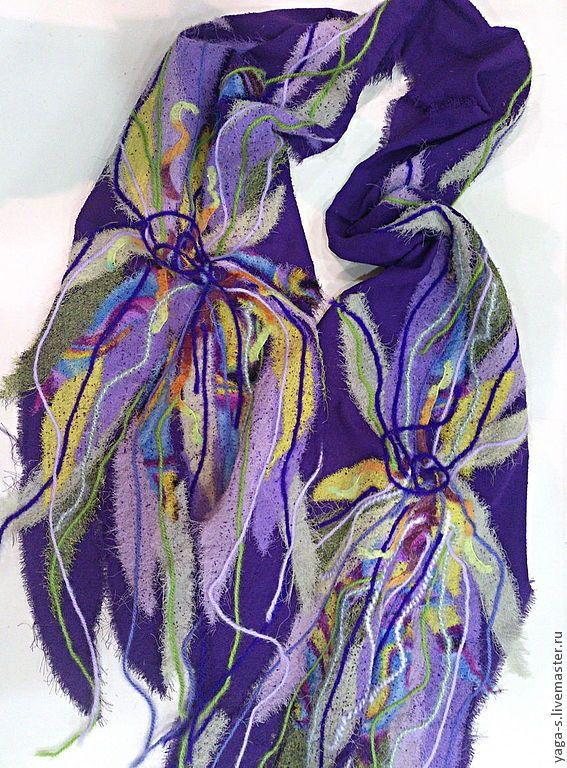 """Купить Шифоновый шарф """"Ирисы"""" - шафр, шифоновый шарф, легкий шарф, шарф ручной работы"""