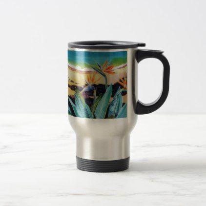 Bird of Paradise Beach Tropical Scene Travel Mug - floral style flower flowers stylish diy personalize
