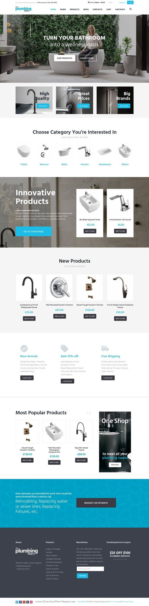 Beautiful responsive WordPress eCommerce #theme for any home repair and maintenance business: #plumbing, carpentry, remodeling & renovation, construction #website. Download Now!:
