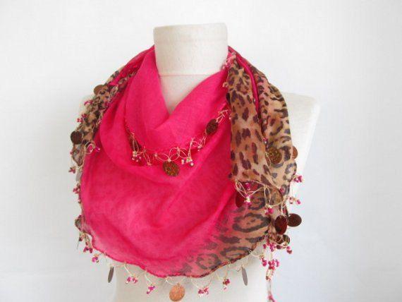 Christmas gift Fuchsia scarvesLeopard scarf Turkish Oya by asuhan, $22.90