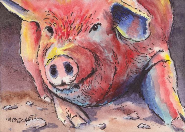 "ACEO Original watercolor  ""Colorful Pig"" (2.5X3.5) -hog,farm,animal,color,bacon #Expressionism"