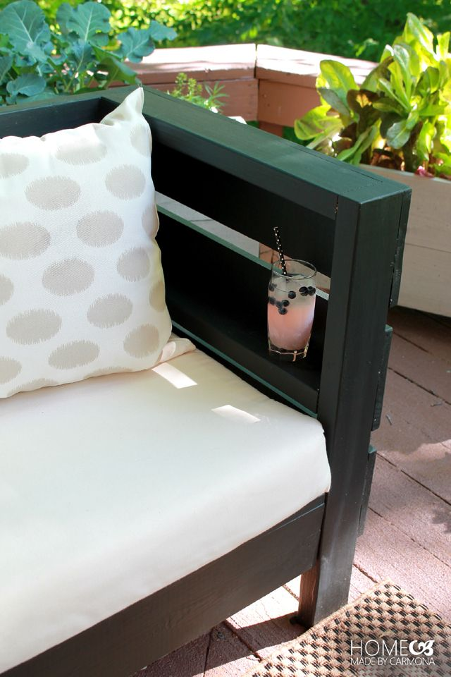DIY Outdoor Sofa - shelf in the armrest