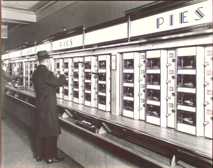Automat, 977 Eighth Avenue, Manhattan.  Berenice Abbott, vintage NYC photo courtesty of NYPL Archives.  February 10, 1936.