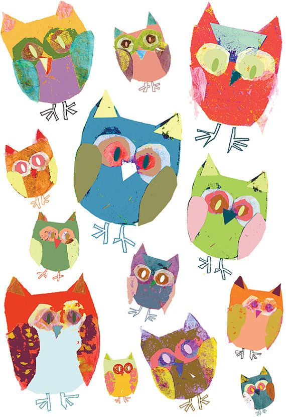 Children art print owls décor bird colourful by OzscapeDesigns, $15.99