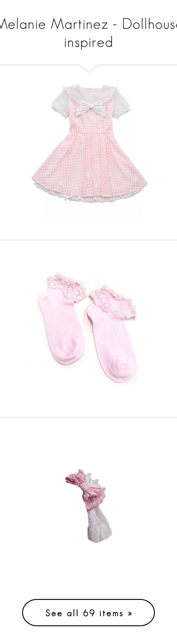 """Melanie Martinez - Dollhouse inspired"" by co8alt-corsair ❤ liked on Polyvore featuring dresses, pink, intimates, hosiery, socks, socks and tights, legwear, ruffle socks, dot socks and lacy socks"