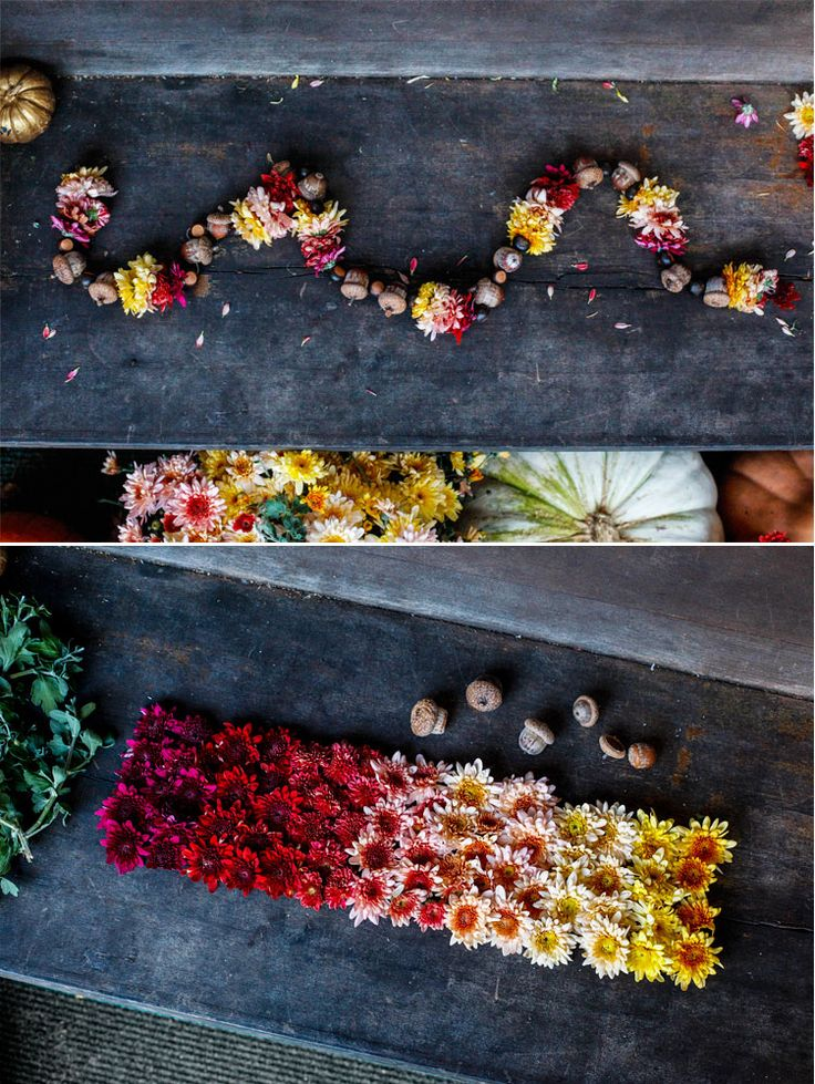 DIY Fall Floral Garland - using acorns and mums