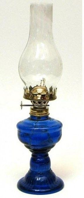 Cobalt Blue Glass Kerosene Lamp
