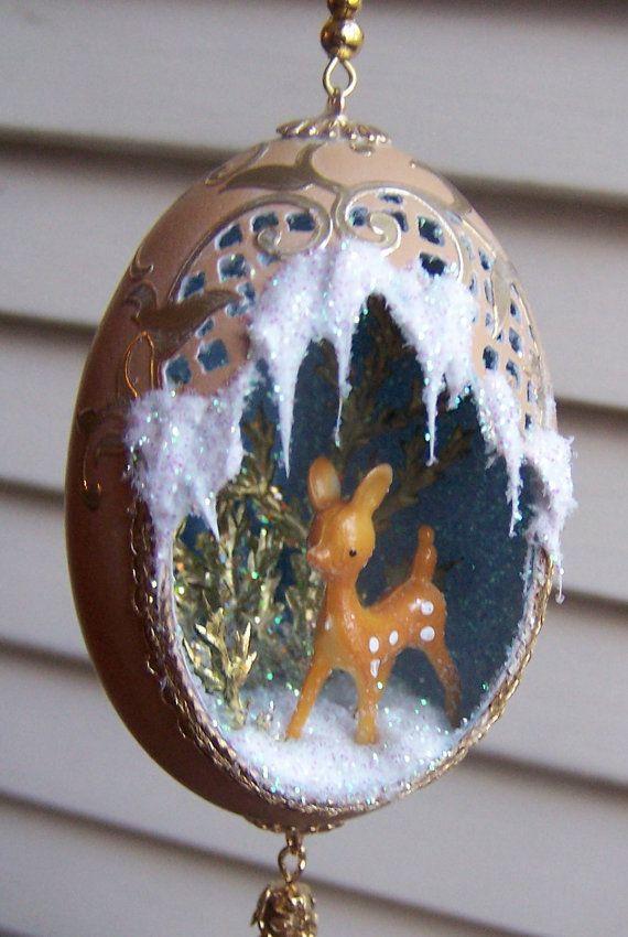 Egg Ornament Deer Christmas Diorama Art Gold Brown EggSchells