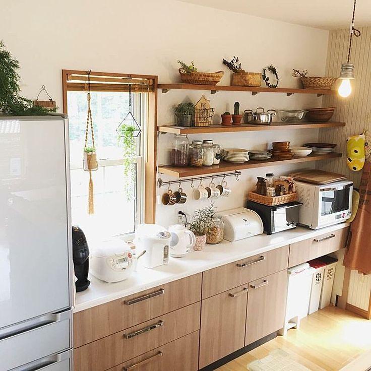 Kitchen/ウォールシェルフ/見せる収納/オープン収納/タカラスタンダード/キッチン背面...などのインテリア実例 - 2017-08-07 00:09:00