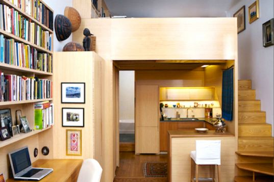 Tiny 240-sq-ft Studio Boasts a Crawl-In Library