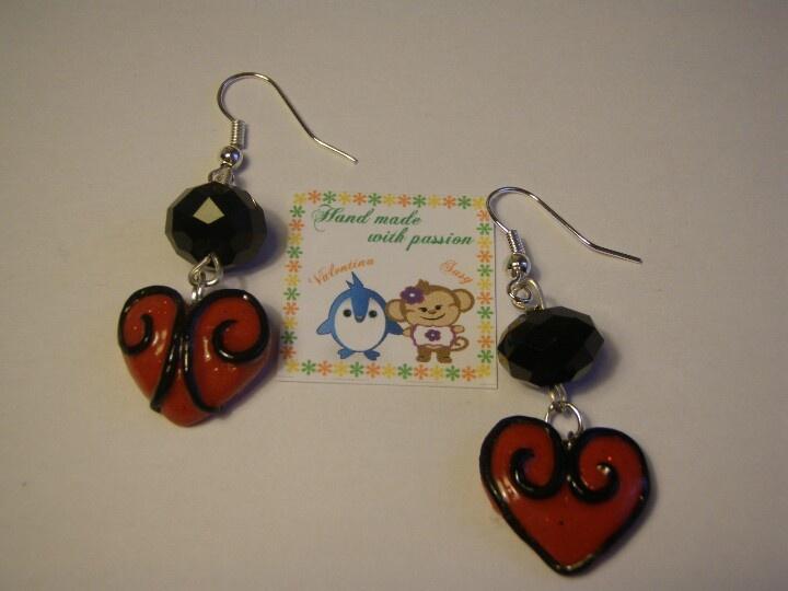 Earing red little heart <3 #handmade #fimo