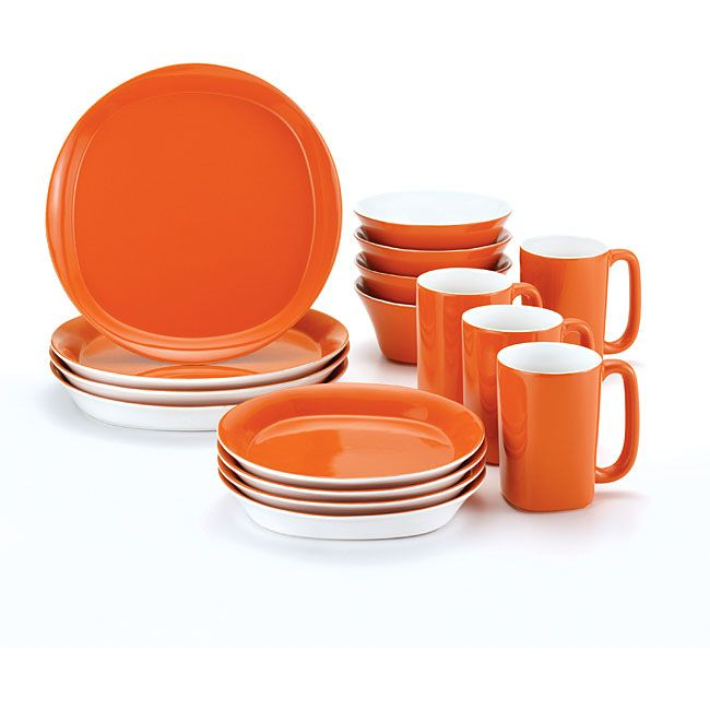 Update your table setting with this 16-piece dinnerware set from Rachael Ray. This vibrant orange dinnerware set is made of stoneware that is both microwave and dishwasher safe.