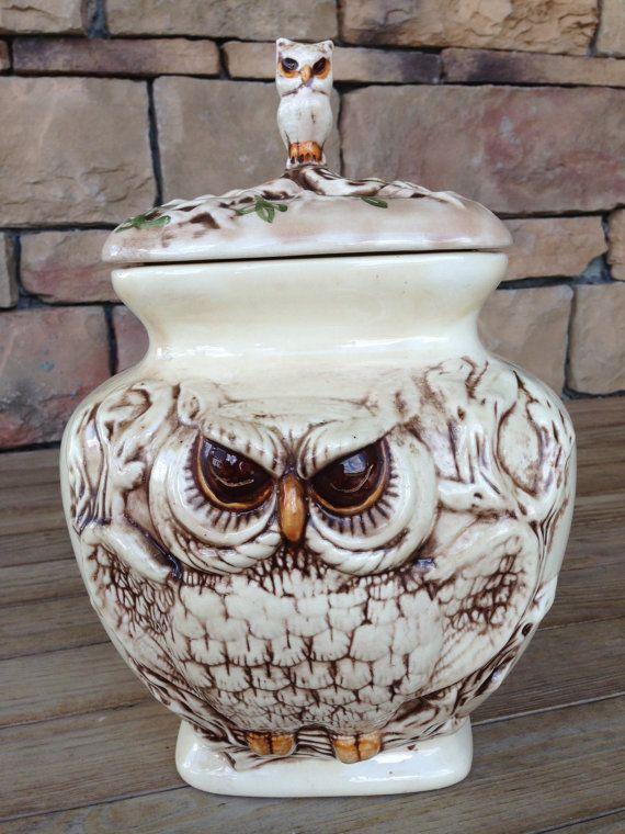 Vintage Owl Cookie Jar Vase Ceramic Large Container Unique Home Decor Kitchen Storage Unique Cool Brown Cream Gift Collectables