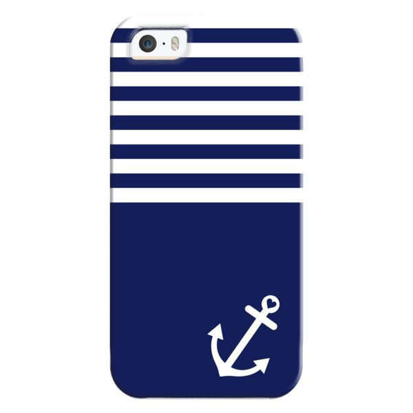 iPhone 6 Plus/6/5/5s/5c Bezel Case - Navy Blue Love Anchor Nautical ($35) ❤ liked on Polyvore featuring accessories, tech accessories, iphone case, iphone cover case and apple iphone cases