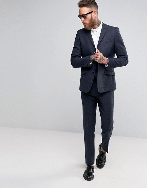 ASOS Slim Suit In Navy Herringbone