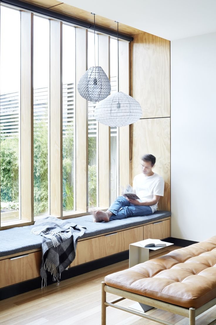 Wooden Box House. Window seat and leather bench