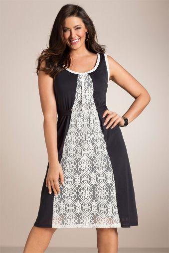 Plus Size Women's Fashion - Sara Lace Panel Dress - EziBuy Australia