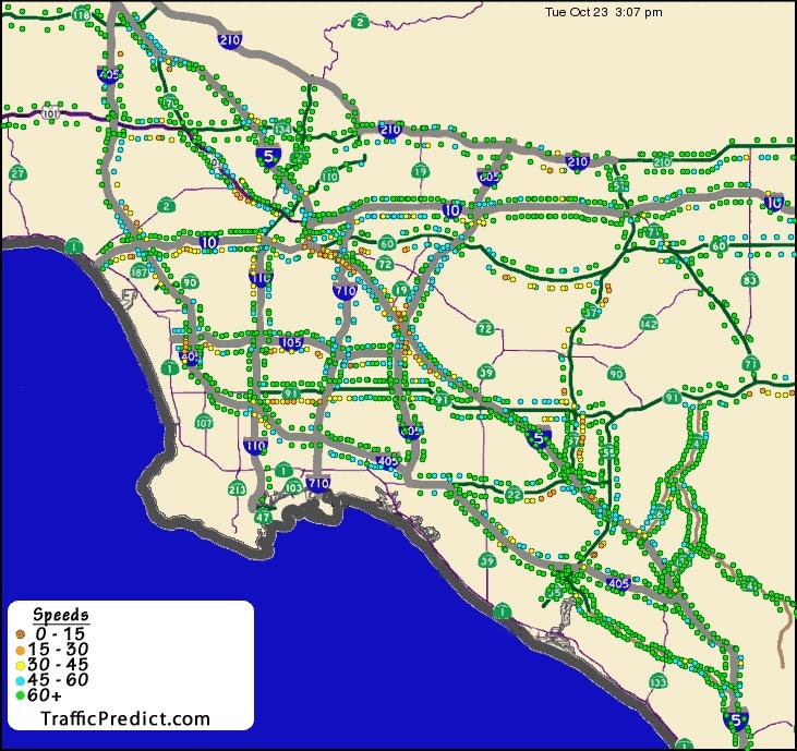 La Freeway Traffic Map.Los Angeles Traffic Flow Map Www Bellissimonyc Com