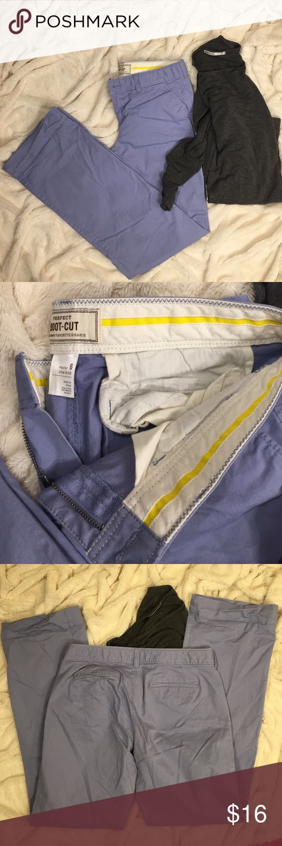 Old Navy Perfect Boot Cut Low Rise baby blue khaki Size 6 excellent pair of old navy perfect bootcut khaki pants.  Wrinkles from storage; easily ironed (heading into laundry after posted) listed with a gray top to differentiate color. Old Navy Pants Boot Cut & Flare