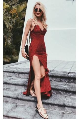 159ded657e3 Charming Burgundy Lace Spaghetti Straps Long V-Neck Prom Dresses UK With  Sexy Slit PH375
